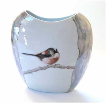 long tailed tit vase